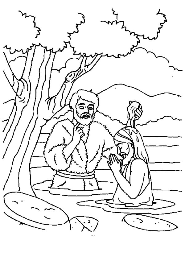 free coloring pages of jesus baptism   Depiction of Jesus Baptism Coloring Pages: Depiction of ...