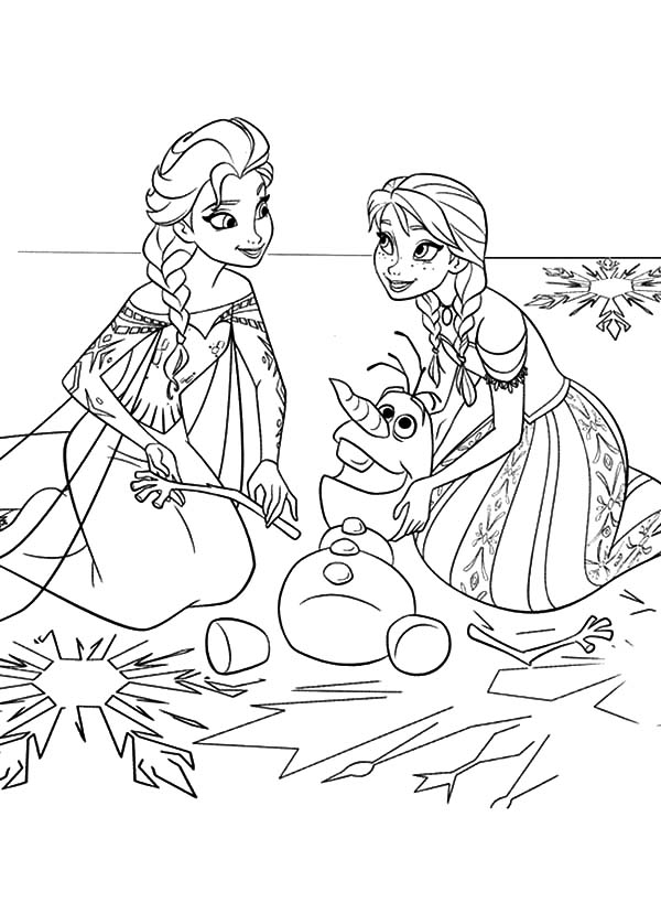 Princess Anna and Queen Elsa Fix Olaf the Snowman Coloring ...