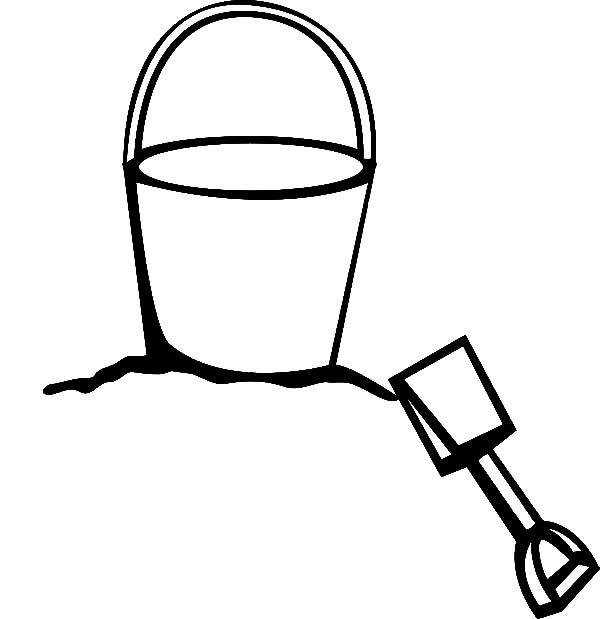making sand castle with beach bucket coloring pages