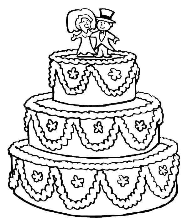Coloring Pages Cake : Free coloring pages of cake bride