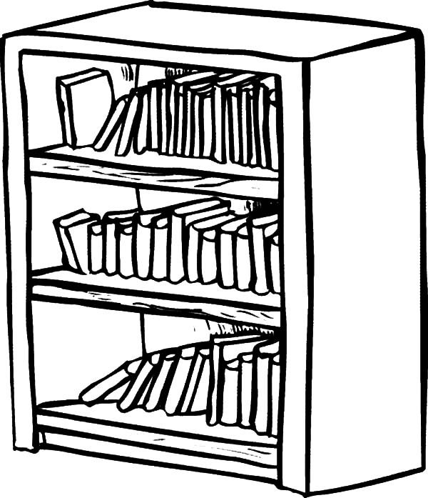 book shelve colouring pages