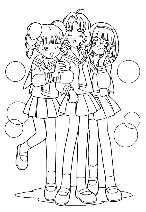 Anime Coloring Pages Best Friends Coloring Pages Friendship Coloring Page