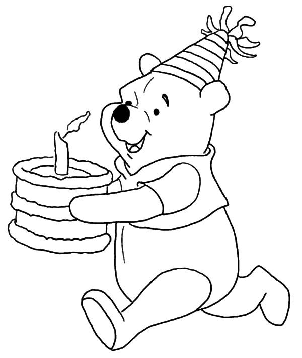 happy birthday pooh bear coloring pages | Disney Winnie the Pooh Running with Birthday Cake Coloring ...