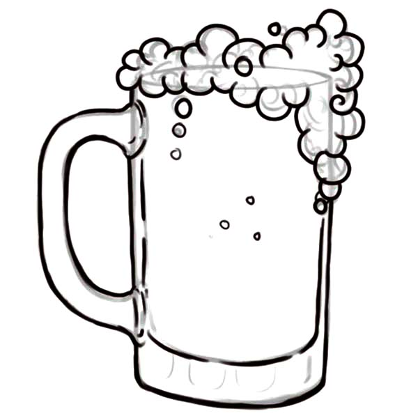One Line Art Beer : Drawing glass of beer coloring pages