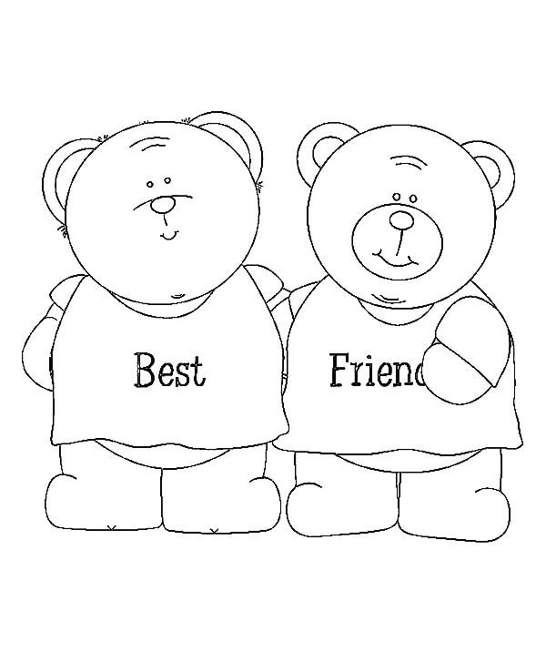 coloring pages about friendship - best friend teddy bear coloring page sketch coloring page