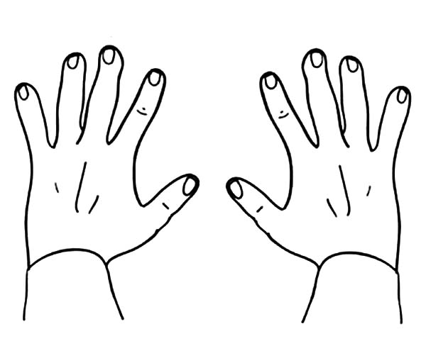 Finger Numbers Hands Coloring Pages