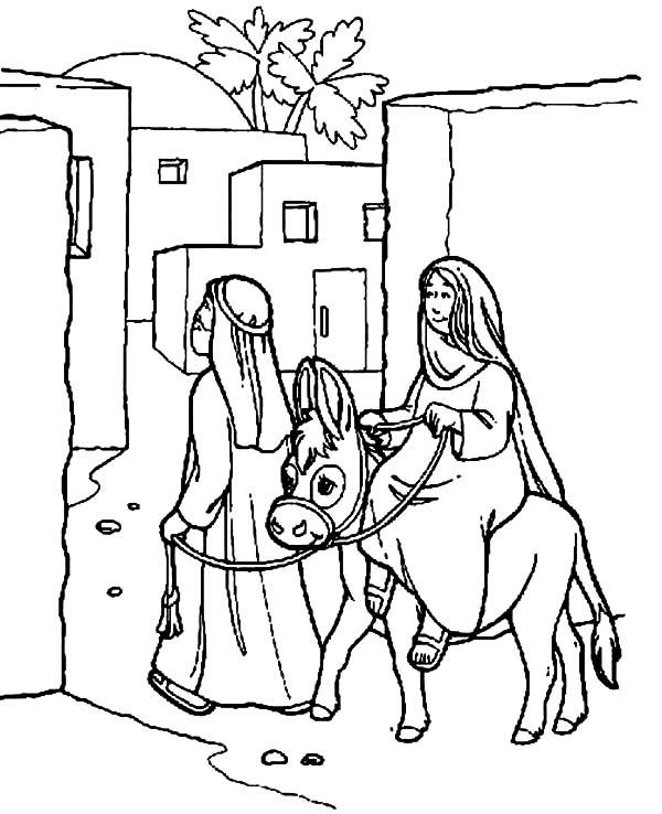 Joseph Donkey Coloring Page Nativity