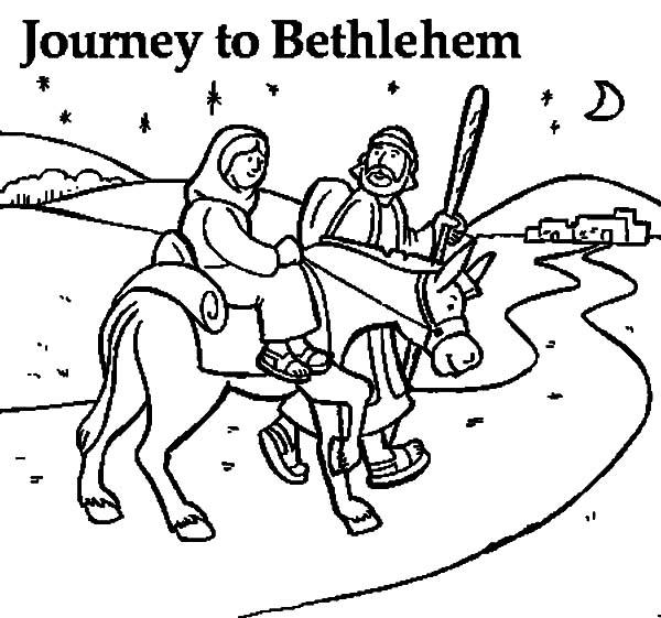 Mary And The Donkey And Joseph Near Bethlehem Coloring